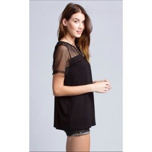 Tee Blouse Short Sleeve perforated top black